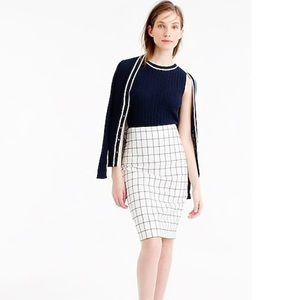 J. Crew Petite Pencil Skirt in Windowpane Tweed
